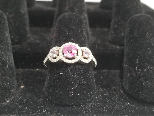 Size 8 Pink Topaz Ring with two Alexandrite Stones