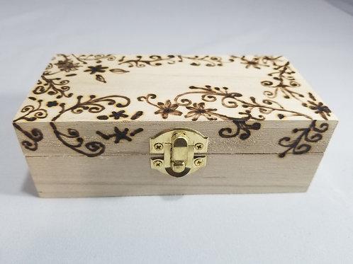 Wood burned floral box