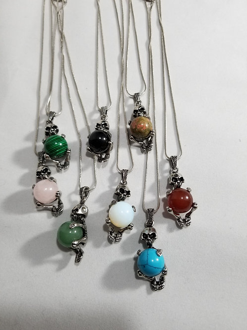 Silver Skeleton Necklace with Gemstone