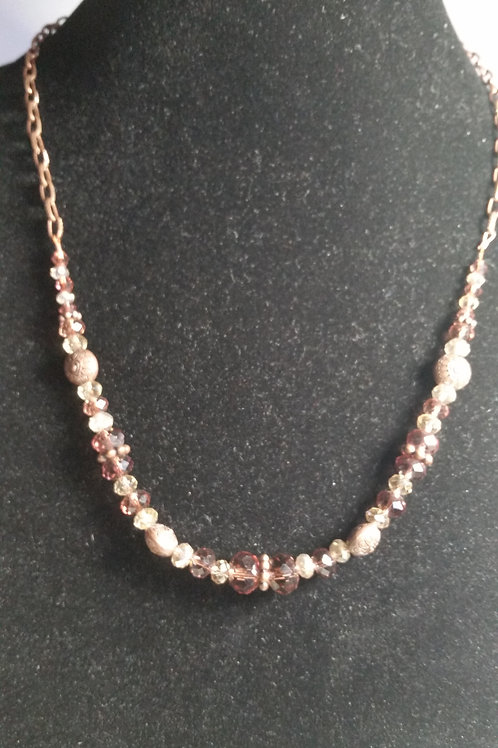 22 in necklace in Copper with Czech beads in amethyst and champagne