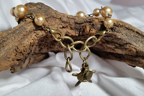 Adjustable antique brass and bronze Pearl Seaside bracelet