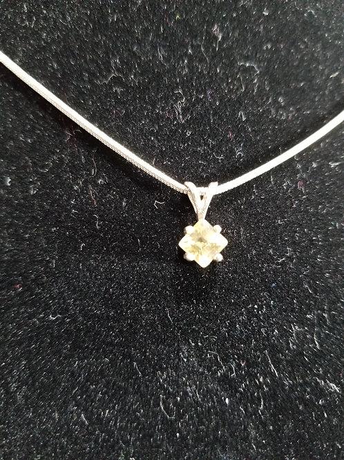 "Diamond Cut Citrine 16"" snake chain necklace."