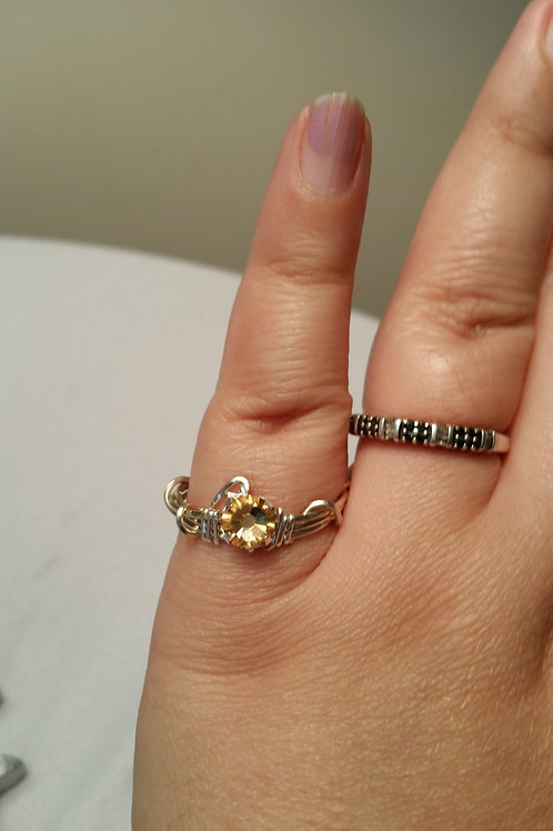 Size 9 Wire Wrapped Ring with Swarovski Bead