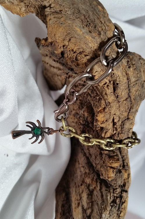 Adjustable mixed metal bracelet with palm tree