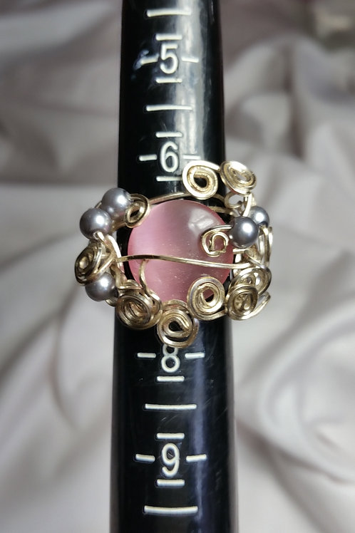 Pink cats eye statement ring size 7
