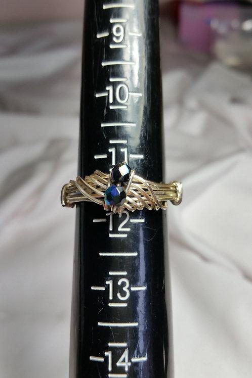 2 Stone AB black Swarovski wire wrap ring size 11 1/2