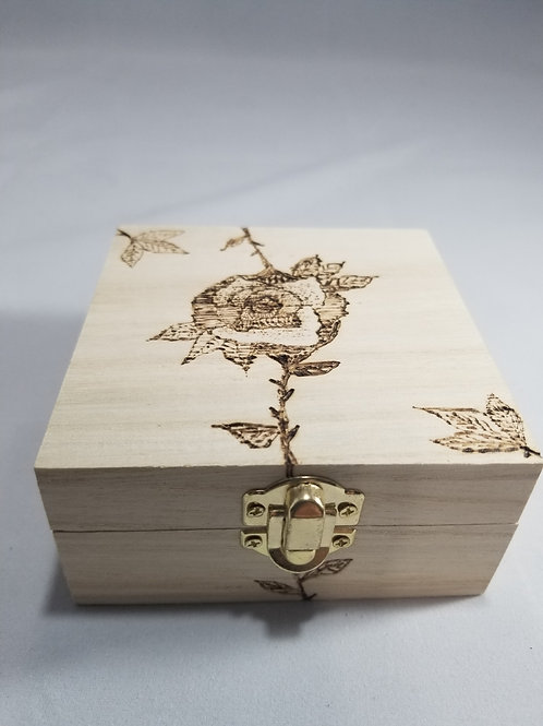 Wood Burned Rose Box