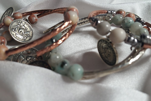 Antique Coin Unisex Adjustable Memory Wire Bracelet