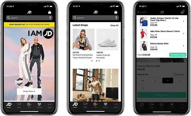 3 views of the JD Sports mobile retail app that was designed and built by One iota Manchester