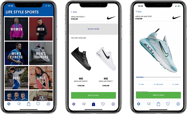 3 views of the Life Style Sports retail commerce app that was developed by One iota, Manchester
