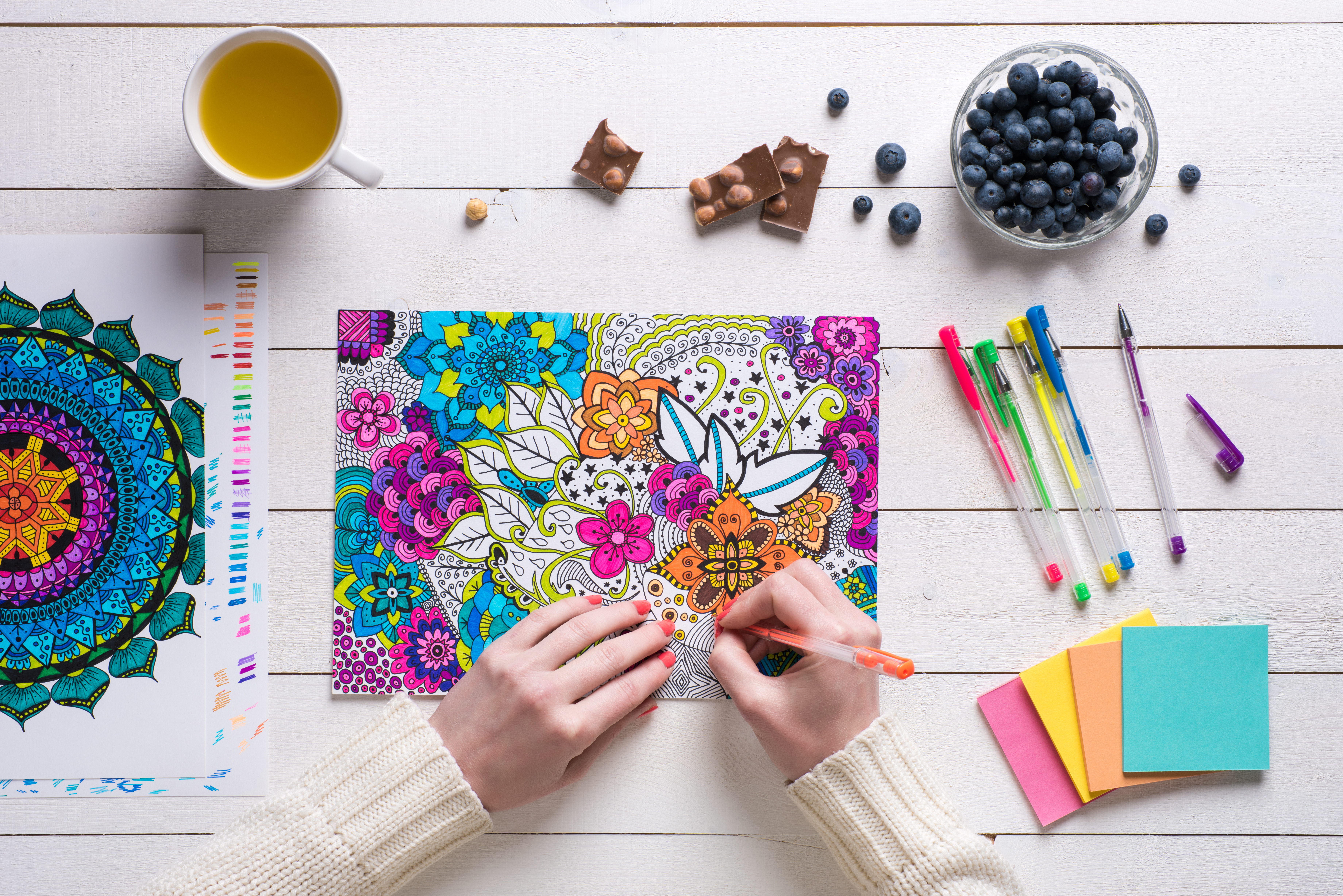 Flat lay, female coloring adult coloring
