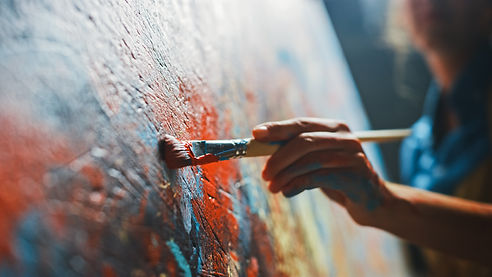 Female Artist Works on Abstract Oil Pain