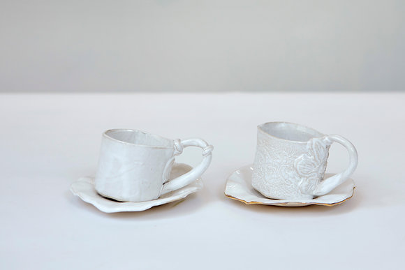 Set of Two Espresso cups and saucers