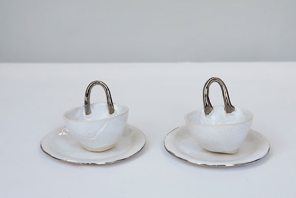 Set of espresso cups and saucers