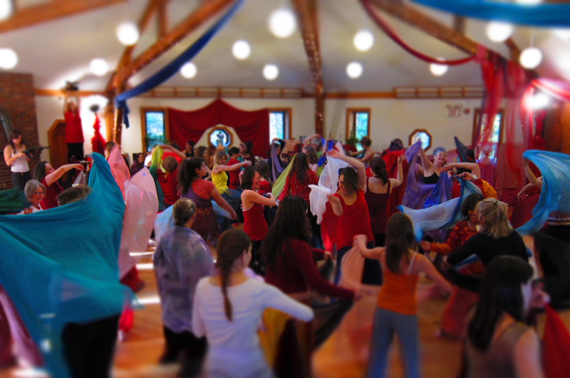 Red Tent veil dancing