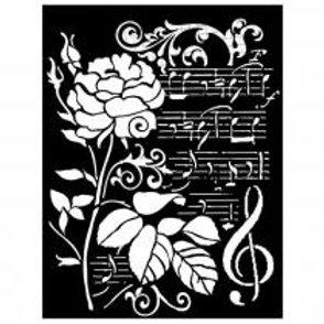 Pochoir Roses et Musique