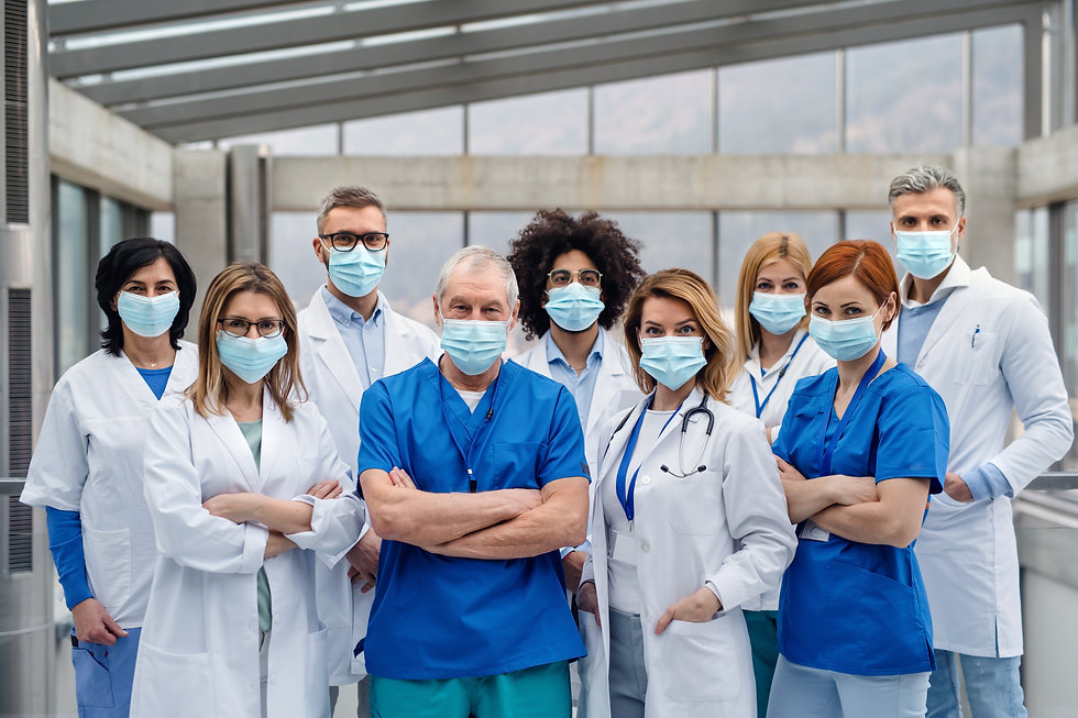 Top quality medical sales reps standing and wearing face masks