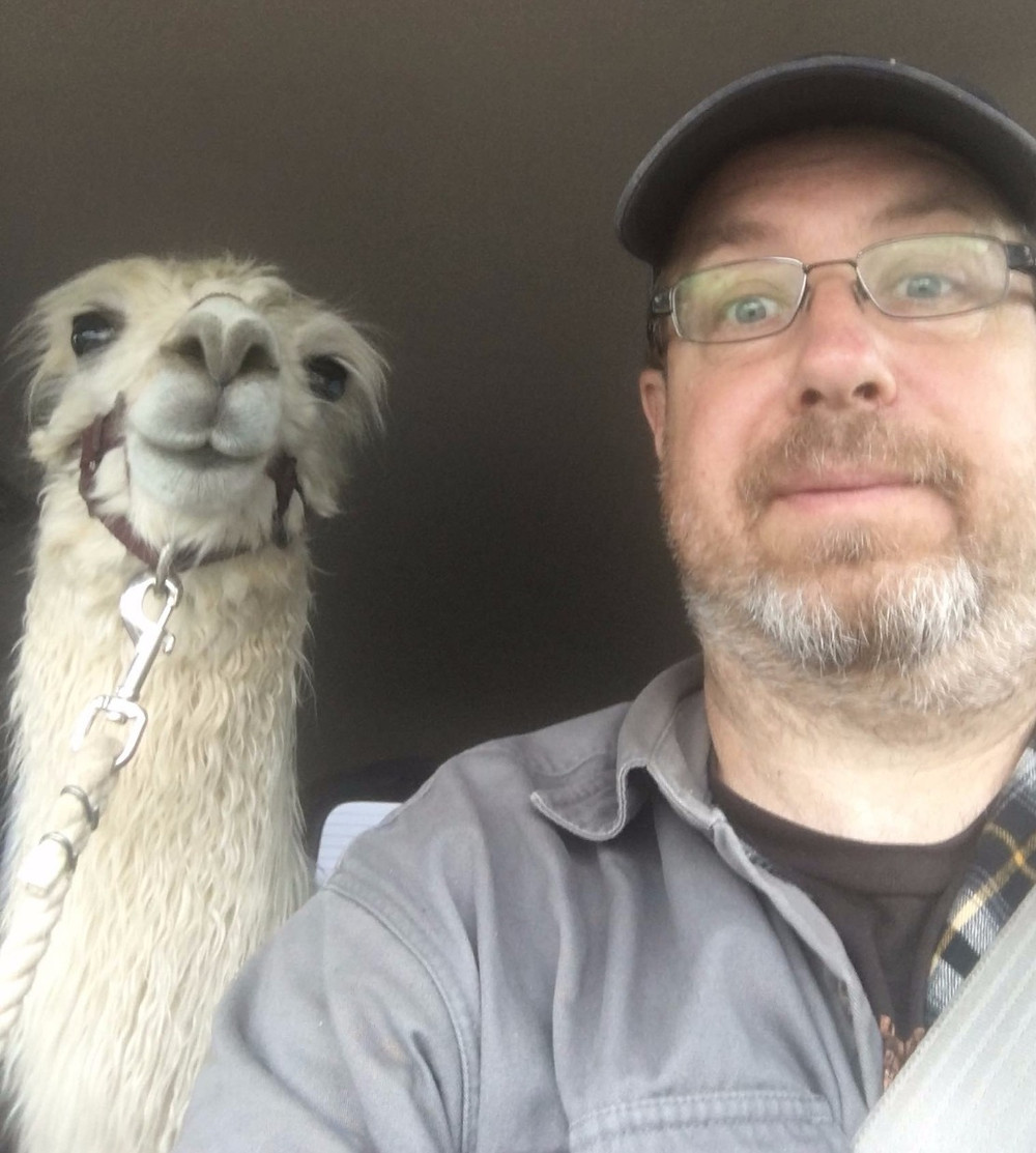 Dolly Llama selfie with Steve in the van.