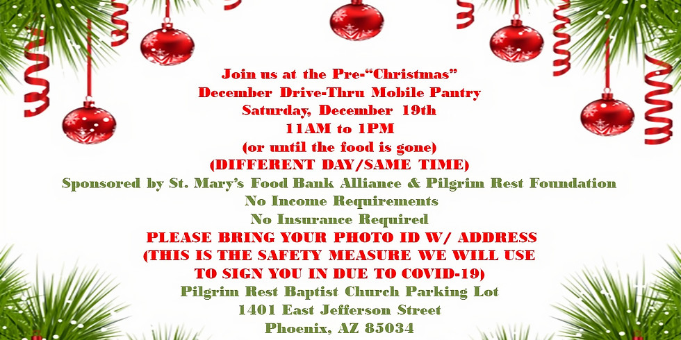 FREE FOOD-SATURDAY, DECEMBER 19TH-11 AM to 1 PM-DRIVE THRU MOBILE FOOD PANTRY FREE FOOD FOR ALL