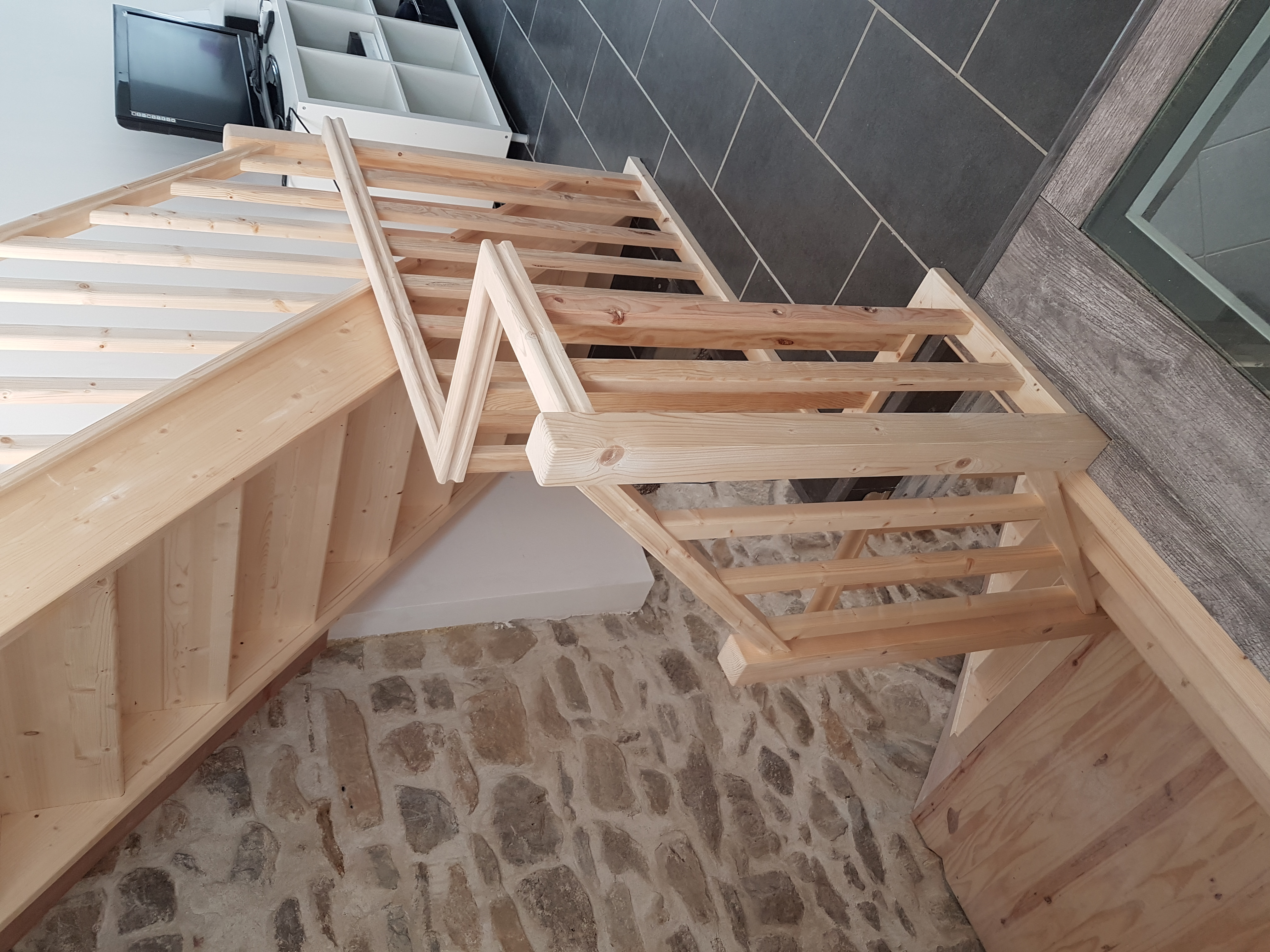 Newly installed pine staircase
