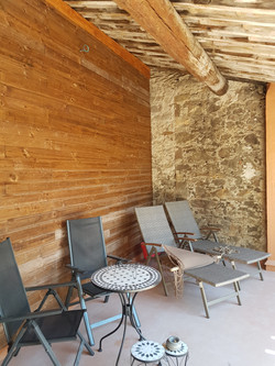 Timber cladding on outdoor terrace