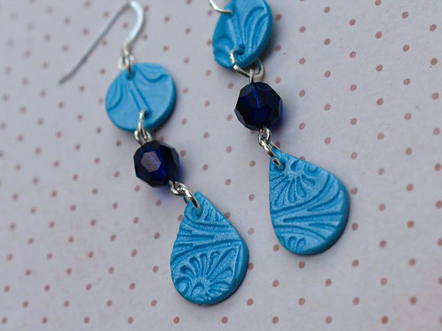 EARRINGS /'Summer Fling/' Neon Teardrops and Squiggles Polymer Clay Jewelry