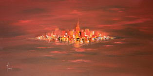 NYC Skyline - Red Closer