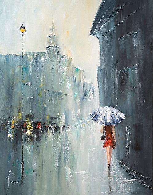 """Blue Umbrella"" Giclee Lithograph Canvas Print"