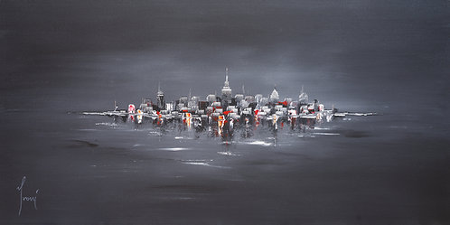 """NYC Skyline - Black"" Giclee Print on Canvas"
