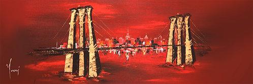 """""""Brooklyn Bridge - Red"""" 4X12 Giclee Lithograph Canvas Print"""