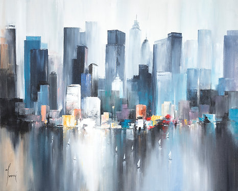 """Midtown Sailing Blue"" Giclee Lithograph Canvas Print"