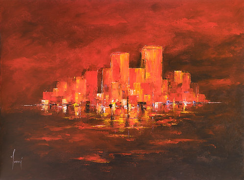 """DownTown - Red"" Giclee Print on Canvas"
