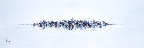 """NYC Skyline - Blue"" 4X12 Giclee Lithograph Canvas Print"