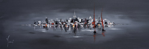 """""""Sailing at Midnight"""" 4X12 Giclee Lithograph Canvas Print"""
