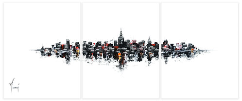 """NYC Skyline - Classic""  Hand Painted Original - Triptych"