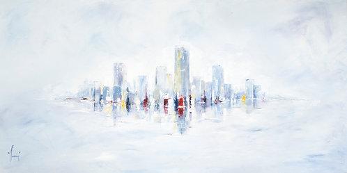 """NYC Skyline Blue - Closer"" Fine Art Paper Print"