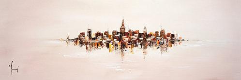 """NYC Skyline - Sand"" 4X12 Giclee Lithograph Canvas Print"