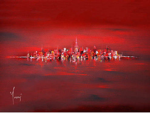 """""""NYC Skyline -Red"""" Giclee Lithograph Canvas Print"""
