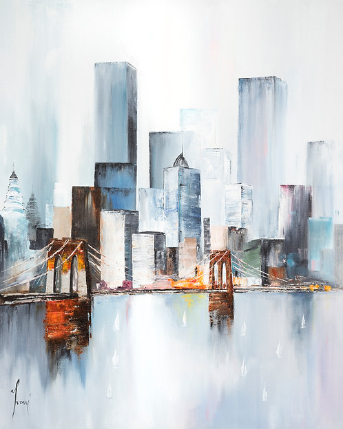 """Midtown Sailing by the Bridge - Blue"" Giclee Lithograph Canvas Print"