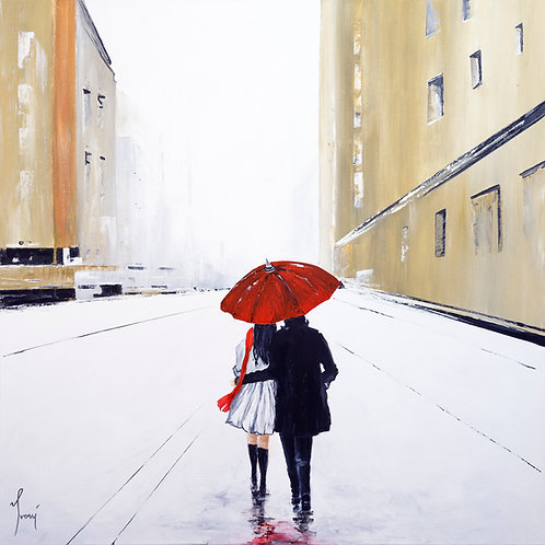 """Under One Umbrella on Gold Street"" Lithograph Canvas Print"