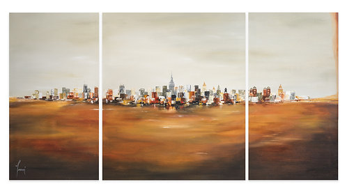 """View from University Place One""  Hand Painted Original - Triptych"