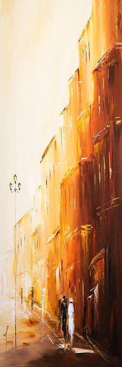 """Romantic Walk R"" 4X12 Giclee Lithograph Canvas Print"