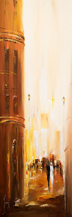 """Romantic Walk L"" 4X12 Giclee Lithograph Canvas Print"