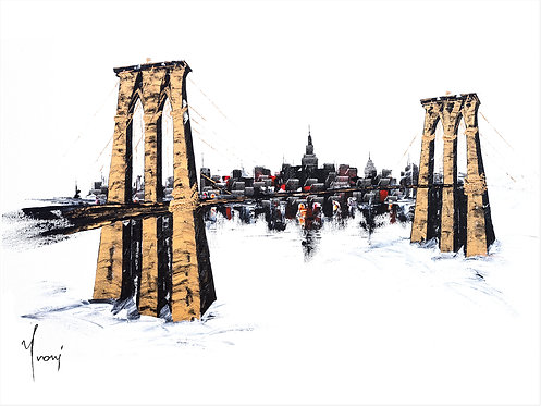 """Brooklyn Bridge - Classic"" Lithograph Canvas Print"