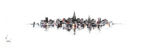 """""""NYC skyline - Classic"""" 4X12 Giclee Lithograph Canvas Print"""