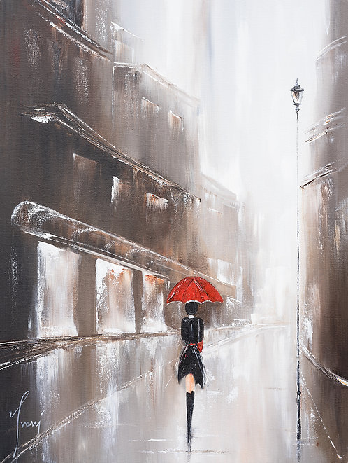 """Walk in the Rain"" Giclee Lithograph Canvas Print"
