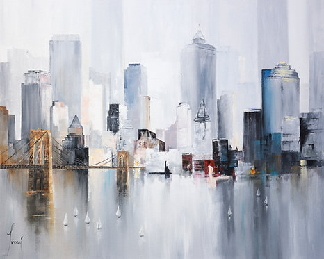 """Midtown Sailing by the Bridge Grey"" Giclee Print on Canvas"