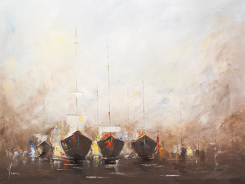 """""""At the Seaport"""" Giclee Lithograph Canvas Print"""