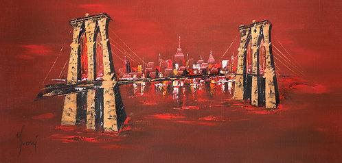 """Brooklyn Bridge - Red"" Hand Painted Original"