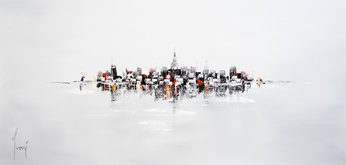 """NYC Skyline - Grey"" Lithpgraph Canvas Print"